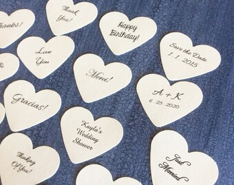 Stickers Heart tags, birthday tags, favor tags, wedding favors, product labels - 1 1/2 inch set of 50