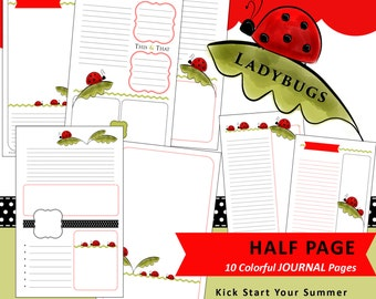 Printable Journal Notes Planner Pages - Half Page - Lovely LADYBUGS - 10 Designs