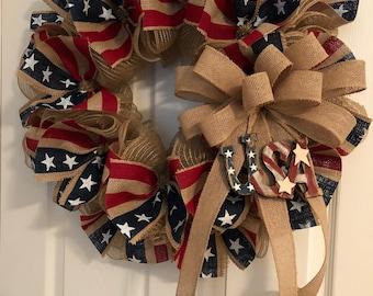 Patriotic Wreath, Veterans Day Wreath, Americana Wreath, Fourth of July Wreath, 4th of July Wreath, Burlap Mesh Wreath, Primitive Wreath