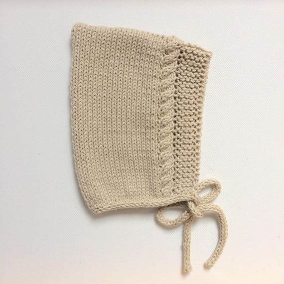Cotton Cable Pixie Bonnet in Natural - Sizes Newborn to 24 months - Pre-Order
