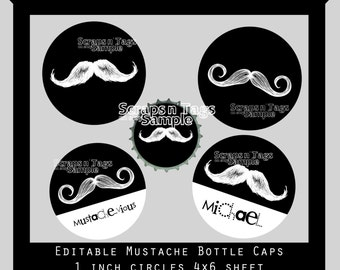 Editable Mustache Bottle Caps Instant Download JPG's & Layered PSD Files 4x6 print card
