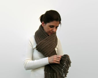 Coffee Brown Wool Chunky Knit Scarf With Fringes, Hand Knitted, Mens Winter, Multi Wrap Scarf, Knitted, Womens Scarves, Fashion Scarves