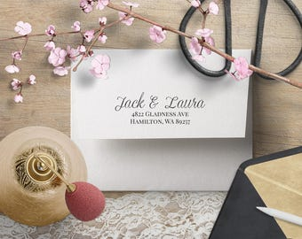 Return Address Stamp, Wedding Address Stamp, Custom Address Stamp for Couples, Calligraphy RSVP Invitation Stamp, Self Inking or Wood Stamp