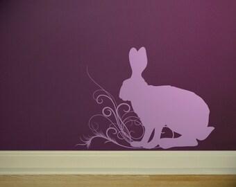 spring jack rabbit with swirls vinyl wall decal