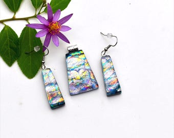Fused dichroic glass pendant and earring set, three layers, pastel yellow, green, pink, blue