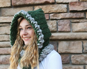 Hooded cowl, crocheted