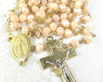 Pastel Peach Crystal Rosary