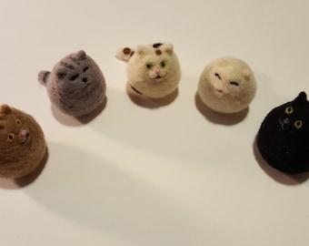 Custom Needle Felted Cats - Pebble Style