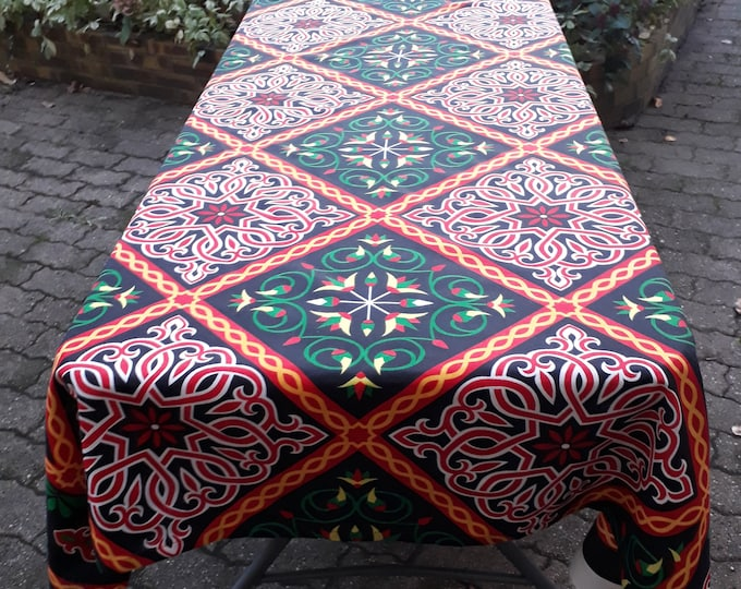 Ethnic throw. Egyptian tablecloth. Argyle arabesque lotus flowers. Different lengths. Garden decoration. Festive outdoor table