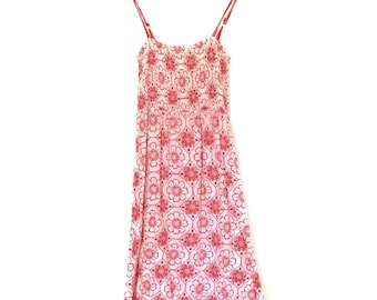 Beach Spaghetti Strap Red Printed Maxi Dress | Small 8-10