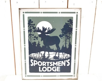 Sportsmen's Lodge Sign 90s Vintage Metal Sign Woodland Moose Full Moon Forest Landscape Man Cave Wall Hanging