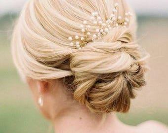 Set of 3  Bridal hair pin Gold Pearl Hair Pin Gold hair pin Branch hair pin Baby's Breath Hair Pieces Pearl Hair Pins Beaded Hair pins