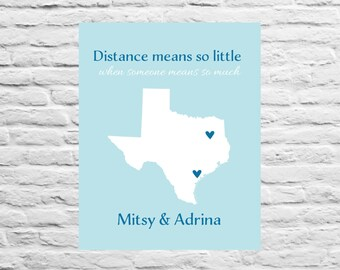 Best Friend Long Distance Gift - Florida, Sister, Daughter, Farewell Gift, Birthday Gift for Sister, Moving Away, Dorm, 8x10 Custom Map,