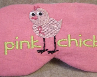 Embroidered Eye Mask for Sleeping, Cute Sleep Mask for Kids or Adults, Sleep Blindfold, Breast Cancer, Pink Chick Design, Ribbon, Handmade
