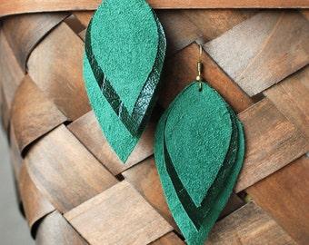 Long Leather Earrings- Leather Earrings- Dangle Earrings- Recycled Earrings- Boho Earrings- Layered Earrings- Green Earrings