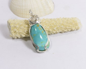 Wire Wrapped Genuine Turquoise Pendant  Birthstone Pendant Turquoise Jewelry
