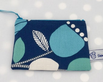 Blue scandi print Zipped Pouch 14 x 11cm, make up bag, pencil case, credit card holder, zipped purse, travel bag, turquoise abstract