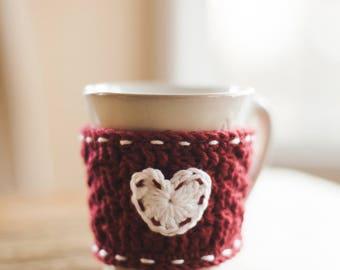 Heart Coffee Mug Cozy--Red