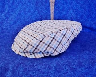 Seersucker Plaid Baby Newsboy Hat Golf Hat Flat Cap