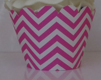 Hot Pink Chevron Cupcake Wrappers... Fully Assembled...set of 12.. Baby Shower, Birthday, Bridal Shower