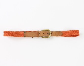 VINTAGE Belt Womens Orange Belt Leather Brass