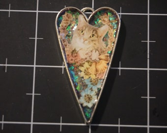 Floral Cat Collage Pendant, 50% goes to the current focus charity