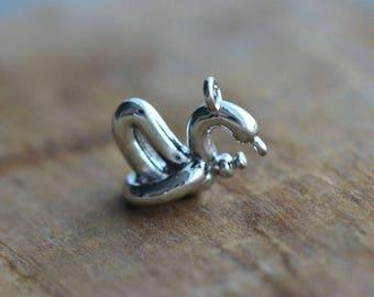1 - 3D Balloon Swan Charm - Silver Toned Brass Layered Charm Minimal Jewelry Pendant (B6) 50DFL2