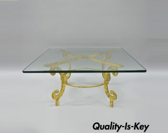 Vintage Gold Metal and Glass Italian Hollywood Regency Scrolling Coffee Table Square