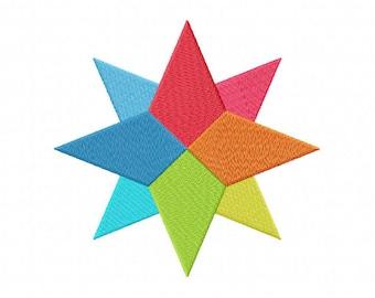 Star machine embroidery design