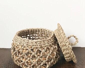 Mini Abaca Basket with Lid