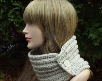 Oatmeal Beige Neck Warmer, Womens Cowl with Button, Ladies Crochet Scarf, Winter Scarflette, Winter Accessories, Chunky Cowl, Gift for Her