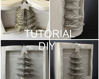 DIY Tutorial for Christmas Tree Book Sculpture with template - Instant Download