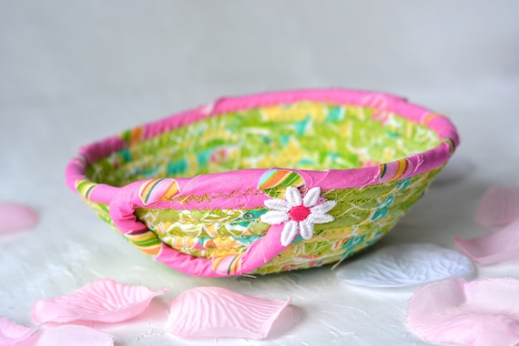 Cute Fabric Basket, Handmade Ring Dish Holder, Artisan Quilted Basket, Hand Coiled Fiber Basket, Bling Bowl, Dresser Tray