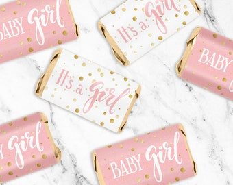 Pink and Gold Girl Baby Shower Favor Candy Wrapper Stickers for Hershey Miniatures - It's a Girl Candy Labels - 54 Count