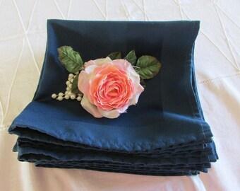 Vintage Navy Blue Napkins - Blue Cloth Napkins -  Eleven Dinner Napkins - Luncheon Napkins - Vintage Wedding Napkins