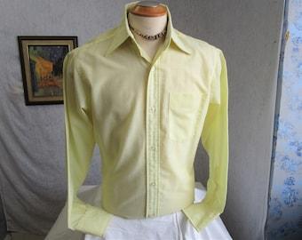 "70s 15 1/2"" Hathaway Men's Big Collar Dress Shirt Lemon Yellow"