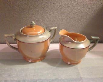 Vintage Lusterware Peach/Mint Creamer and Sugar/Made in Japan