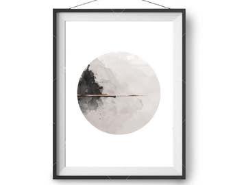 Watercolor Printable, Beige Black Copper Print, Circle Art, Abstract Print, Printable Painting, Modern Art, Minimal Print, Beige Taupe Decor