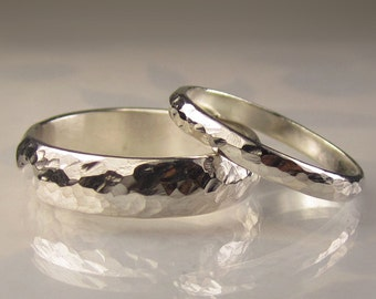 His and Her Hammered Wedding Band Set in Palladium Sterlng Silver