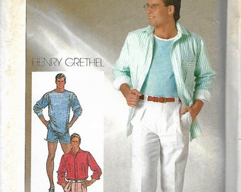 Simplicity 7357 Henry Grethel Men's Shirt, Pants Or Shorts And Pullover Top Pattern, Size 38 & 46, UNCUT