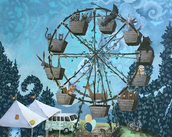 Forest Ferris Wheel 11x14 Print