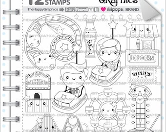 Amusement Park Stamp 80OFF COMMERCIAL USE Digi Digital Image Party Digistamp Coloring Page Graphic Printable Graphics