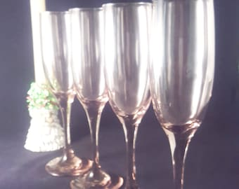 Set of 4 Libbey Lilac / Pink / Plum Champagne Flutes