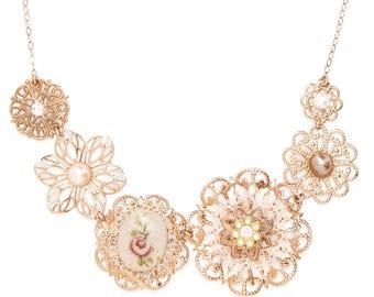 Rose Gold Bib Necklace, Rose Gold Floral Necklace, Bridal Vintage Style Necklace, Bridal Statement Necklace, Bridal Romantic Necklace