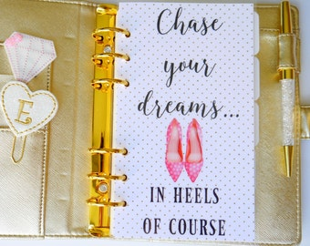 Chase Your Dreams Personal, A5, A6, B6 & Pocket Size Planner Dashboard