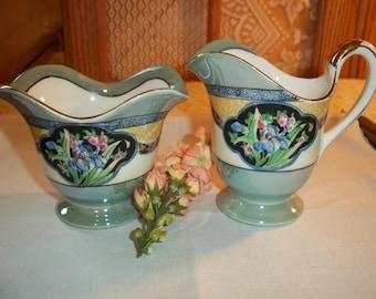 Noritake Lusterware Sugar Creamer Set Floral Pattern Dark Blue Border Gold Gilt Trims Unique One of a Kind Fabuous Find Vintage 1930's Set