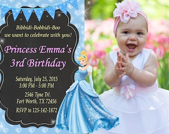 Princess Cinderella Invitation, Princess Cinderella Birthday, Princess Cinderella Party