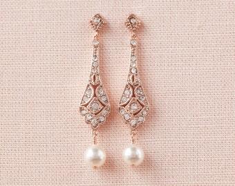 Swarovski Pearl drop Bridal Earrings, Wedding Earrings Rose Gold Vintage Style Bridesmaids earrings,  Clara Vintage Earrings