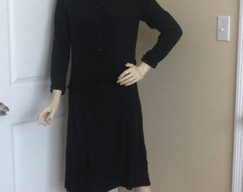 1940s Little Black Dress for Upcycle Supply, Small, Front Snap, 2 Self Belts, Rayon Crepe Fabric, Vintage Clothing