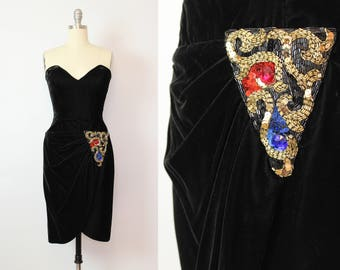 vintage 80s black velvet dress / 1980s beaded sequin evening dress / strapless new years dress / TADASHI dress